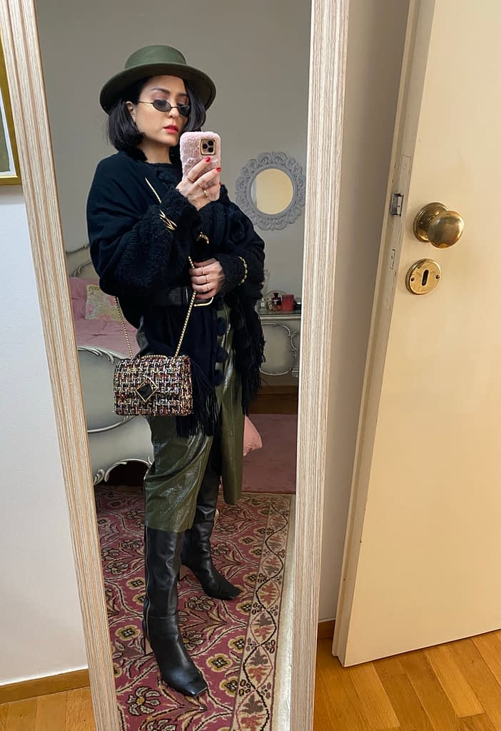Leather skirt and trench tote bag