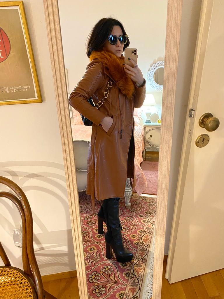 Camel leather coat